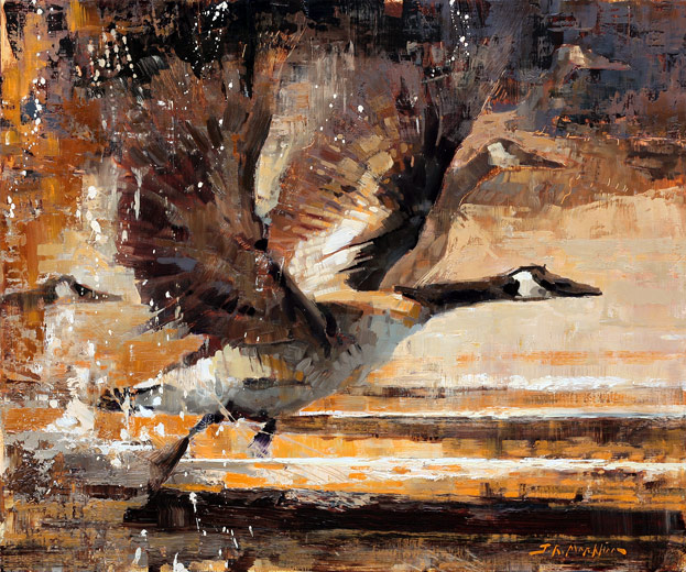 wild goose chase - painting of geese by Jerry Markham