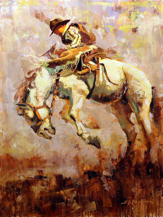 Wild Ride - painting of bucking horse by Jerry Markham