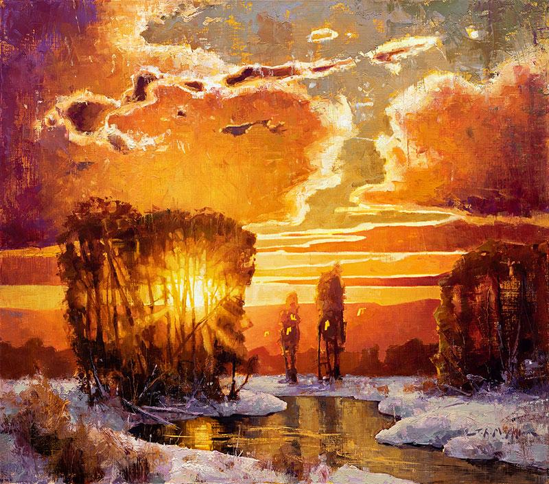 Winter Light - sunset landscape painting by Jerry Markham artist