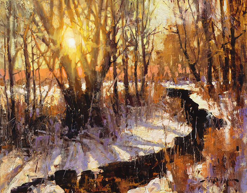 Winter at Willow Creek - painting by artist Jerry Markham