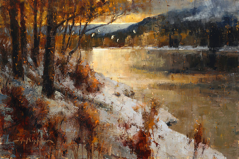 Winter's Embrace - landscape painting by artist Jerry Markham