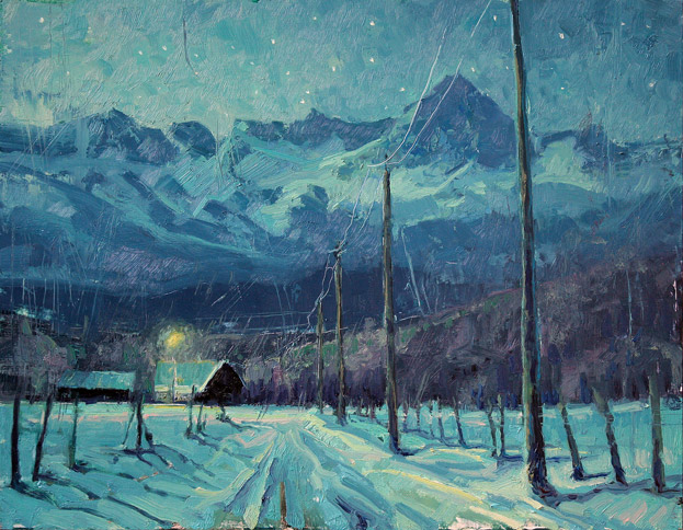 Winter's Eve - night painting of farmhouse in front of mountains by Jerry Markham