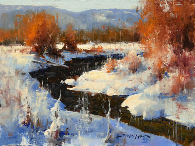 Winter's Warmth - winter river painting