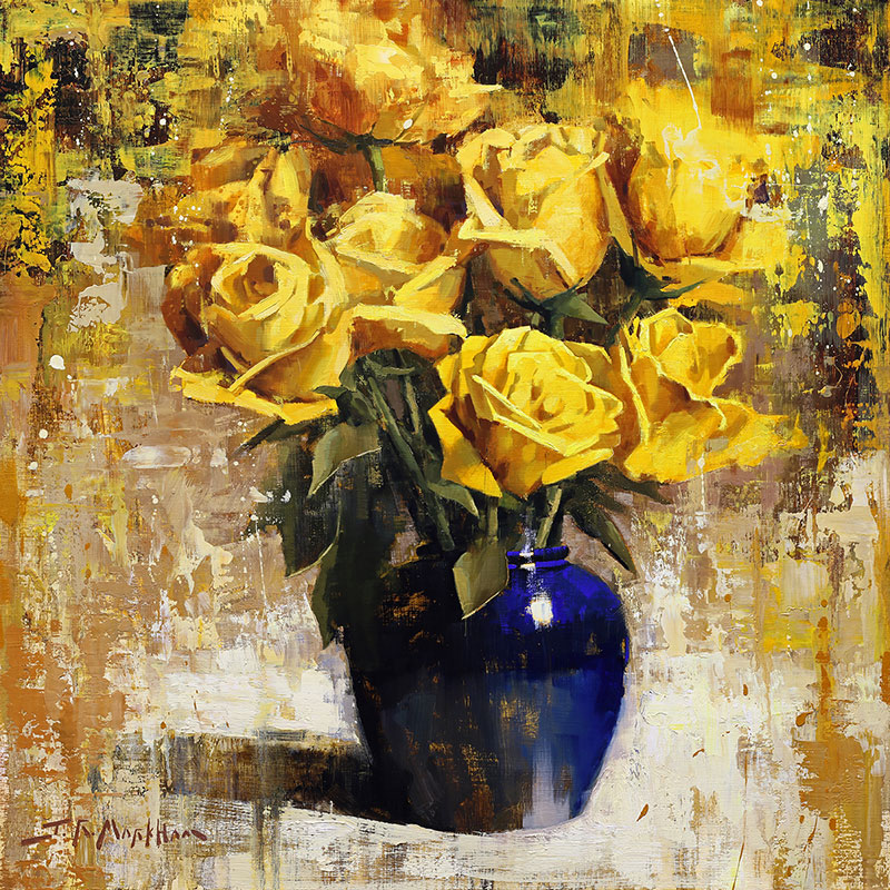 Yellow and Blue Arrangement - painting of yellow roses with blue jug by Jerry Markham artist