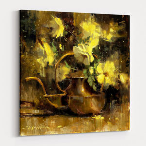 Yellow and Copper Arrangement floral canvas print