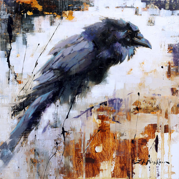 Blue Notes - raven painting by Jerry Markham