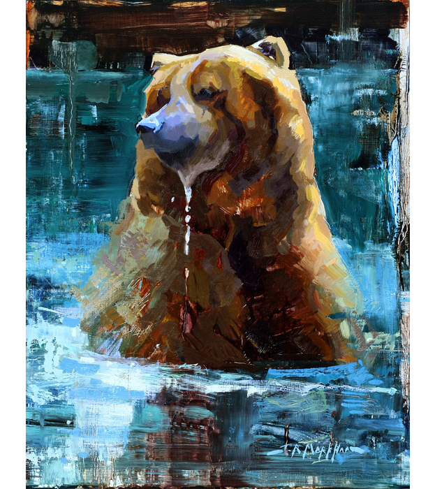 Cooling Off - Painting of Grizzly Bear by Jerry Markham