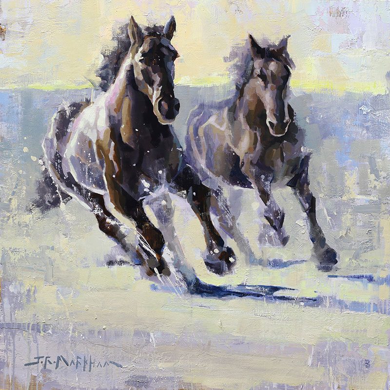 Dashing Through The Snow - painting of horses in snow by artist Jerry Markham