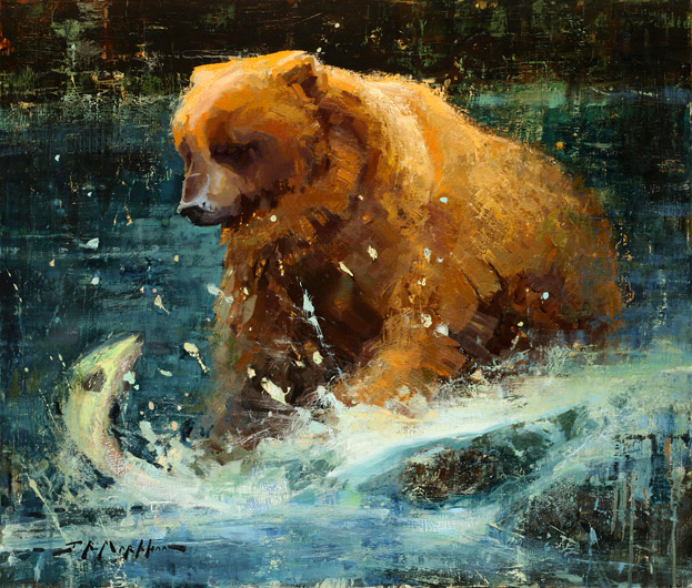 Gone Fishing - painting of a grizzly bear by Jerry Markham - www.jerrymarkham.com