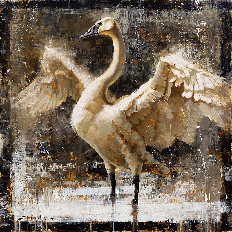 Graceful Elegance - swan painting by artist Jerry Markham artist