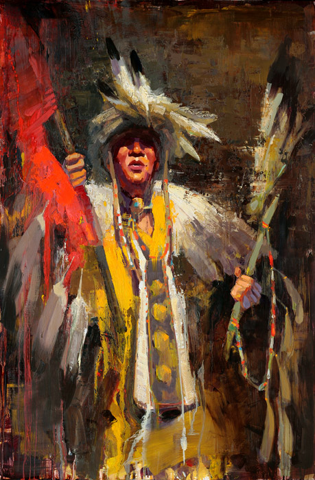 Master of Ceremonies - painting of a Native American dancer by Jerry Markham