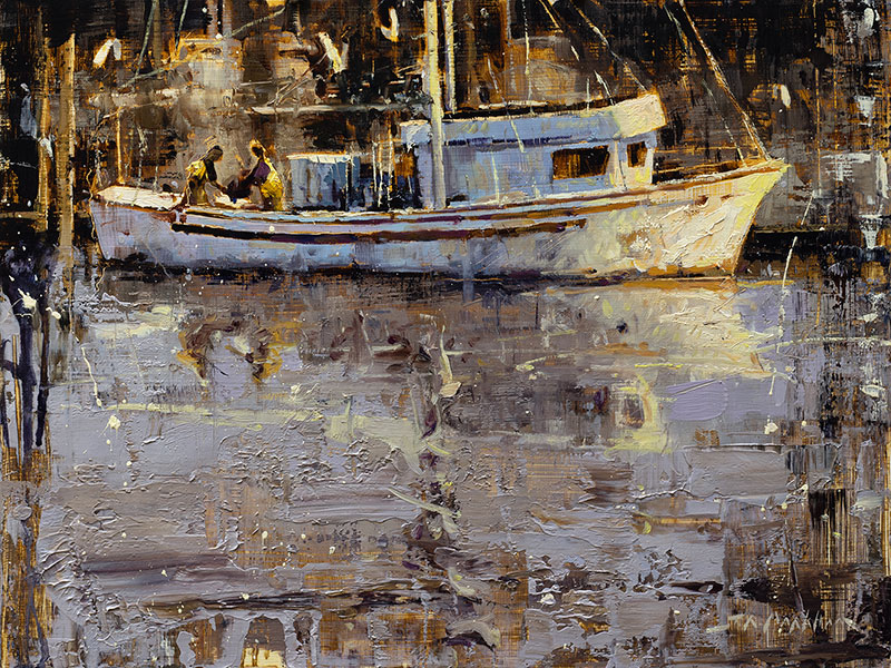 Offloading The Ocean Eagle - fishing boat painting by artist Jerry Markham