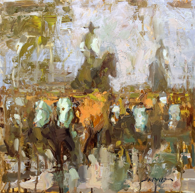Organized Chaos - Painting of cattle drive by Jerry Markham