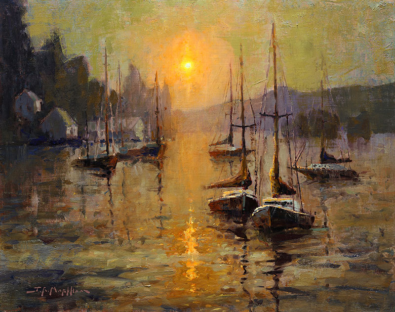 Pacific Peace - painting of sailboats on pacific coast at sunset by Jerry Markham