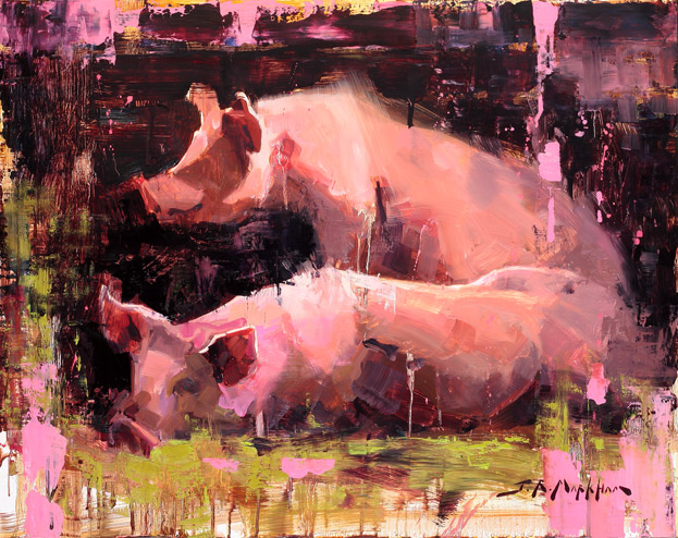 Pork Chop & Prickly Pete - painting of pink pigs by Jerry Markham