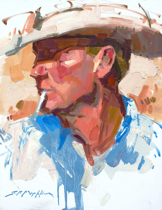 Profile of a Cowboy - Portrait painting of a cowboy by Jerry Markham