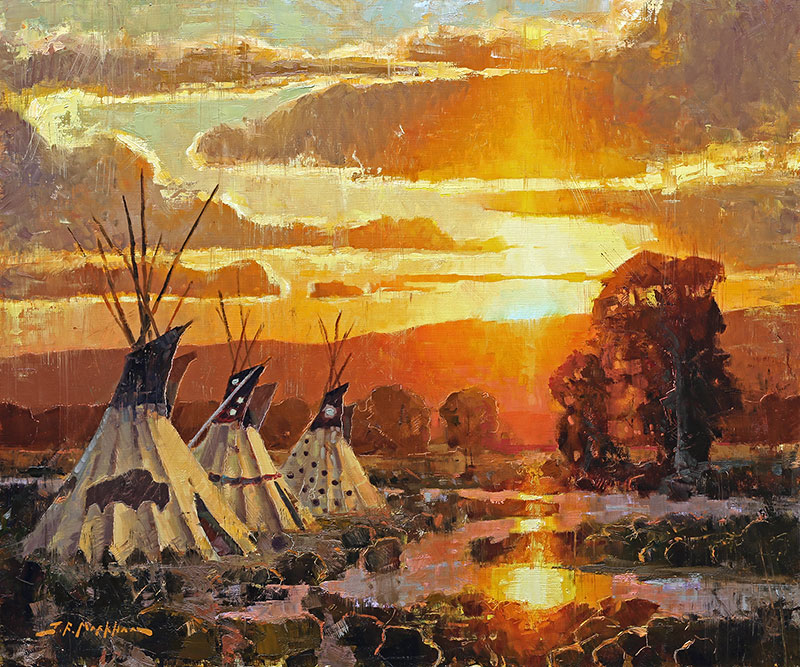 Reflected Sunset - painting of teepees by artist Jerry Markham