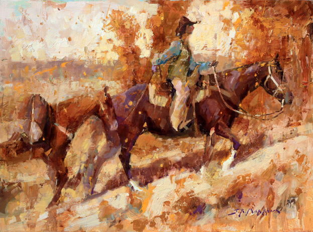 Riding Into Autumn - Western Painting of Cowboy with Horses by Jerry Markham