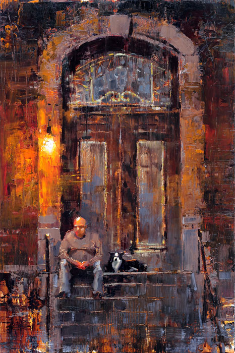 Stoop Dog - original oil painting by artist Jerry Markham
