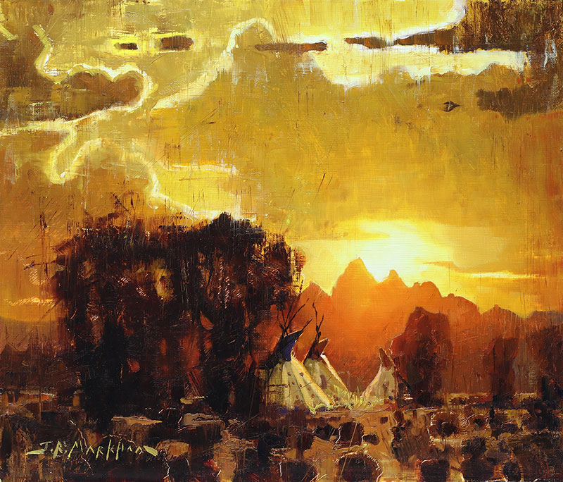 Sundown - painting of tipis at sunset by Jerry Markham