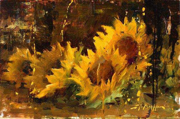 Sunflowers painting by Jerry Markham