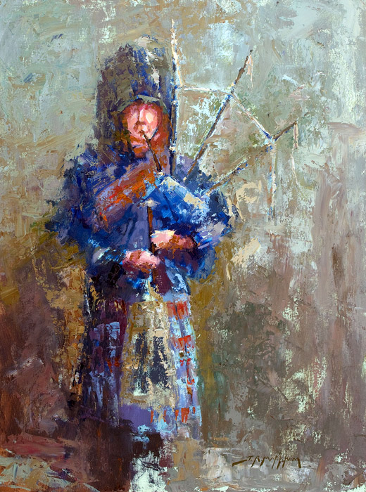 The Bagpiper - Painting by Jerry Markham
