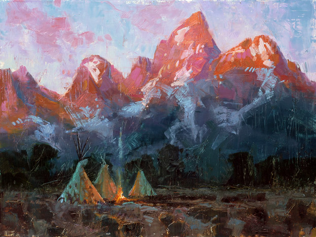 The Dawning - Painting of Tetons at sunrise by Jerry Markham