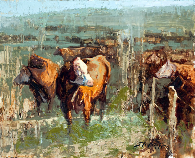 The Grass Really is Greener - Painting of cows by Jerry Markham