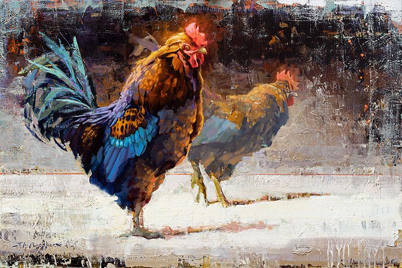 Tweedle Dee and Tweedle Dum - painting of chickens