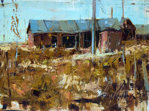 Weathered Red - Painting of an old barn by Jerry Markham
